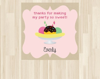 Personalized Ice Cream Favor Tag, Ice Cream Gift Tags, Ice Cream Party, Ice Cream Tag *NEW STORE discount*