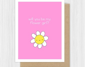 Will You Be My Flower Girl Card Cute Flower Girl Proposal Cards Sweet Fun Daisy Bridal Party Card For Girls Child Her Handmade Greeting