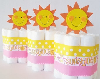 You Are My Sunshine Diaper Cake Centerpieces, Spring and Summer Baby Shower Table Decorations, Its A Girl Baby Shower Decor, Pink and Yellow