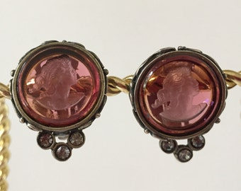 Intaglio Earrings Pink Glass Lady's Cameo Hellenic Jewelry