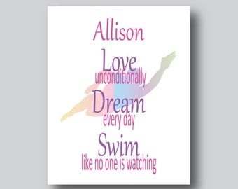 Swimmer Wall Art, Swimmer Art, Gifts for Swimmers, Swimming, Swim, Just Keep Swimming, Sports Decor, Sports Poster, Personalize