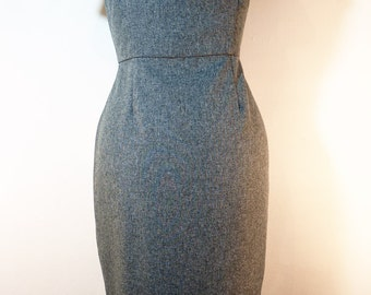 grey pencil wiggle dress roll collar 1950s style