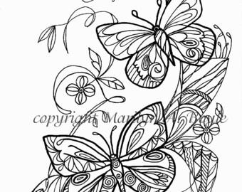 ADULT COLORING PAGE; butterflies, flowers, garden, Zentangle, doodle, digital download,