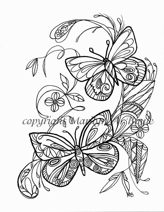 ADULT COLORING PAGE butterflies flowers garden Zentangle