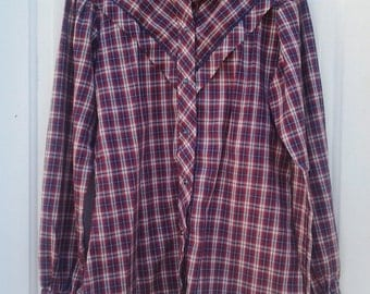 Kenny Rogers Women's Plaid Snap Front Long Sleeve Shirt Size Small