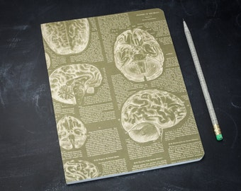 Brain Anatomy Softcover Notebook | Bujo, Nurse, Psychology, Dot Grid, Nursing, Recycled Paper Journal, Anatomical, Medical Doctor, science