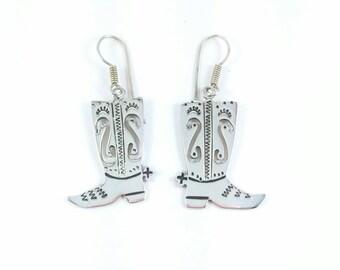 Vintage Western Cowboy Boots  Sterling Silver Earrings