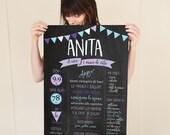 Custom 'MY YEAR' printable artwork  - Fully Customizable - Chalkboard style - A2 size - A beautiful  gift idea