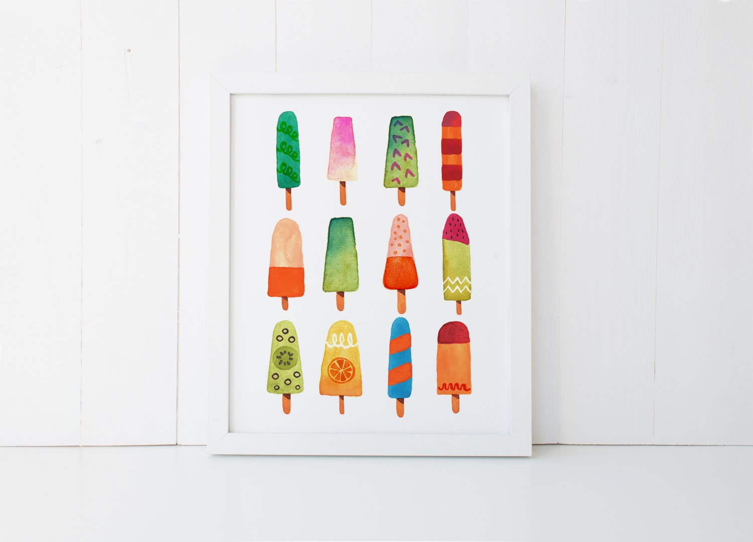 popsicle print summer wall art 4x6 5x7 8x10 11x14 beach