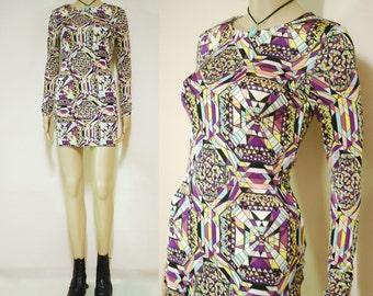 90s Vintage Mini Dress psychedelic Clubwear Kaleidoscope Vtg Tight Fit 1990s Size XXS-XS