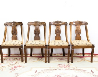 Set of Four French Empire Walnut Chairs with Slip Seats