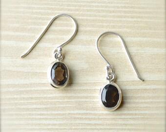 Petite Smoky Quartz Dangle Earrings // Smoky Quartz Jewelry // Sterling Silver // Village Silversmith
