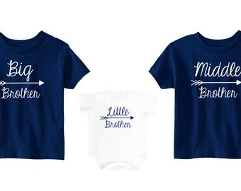 Sibling Set | Big Brother Middle Brother Little Brother Set | Matching Brother Shirts | Big Brother Shirt | Personalized Sibling Shirts