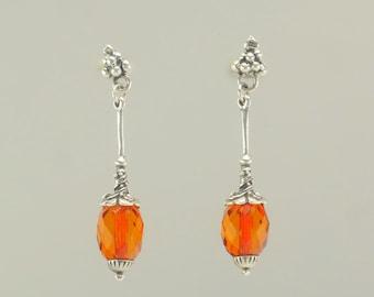 Sterling Silver Orange Crystal Designer Stud Earrings