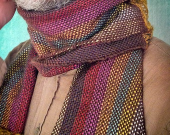 Scarf in wool and multicolored cotton; long and wide scarf patchwork style