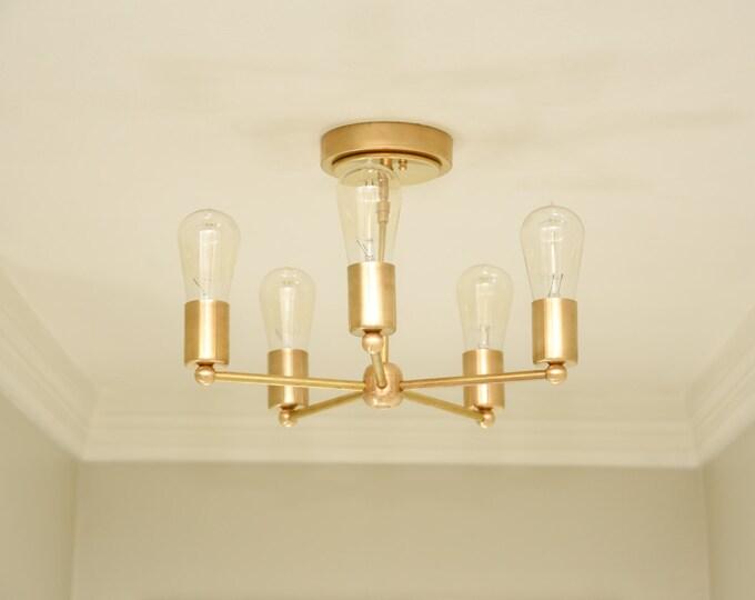 Free Shipping! Modern Chandelier Gold 5 Arm Pinwheel Bulb Brass Sputnik Mid Century Semi Flush Edison Industrial Light Lighting UL Listed