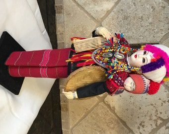 "Hill Tribe Doll/THAI PAYAP-Karen Sgaw - 12""-Mint/Vivid-Thailand 1970'S"