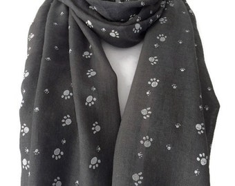 Grey Scarf with White Paw Print, Ladies Gray Cats Dogs Paws Wrap, Dog Cat Cotton Blend Scarf