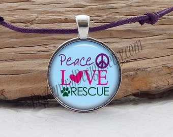 Peace Love Rescue Adjustable Purple Cord Glass Picture Pendant Necklace Blue Pink Green Peace Paw Rescue Jewelry