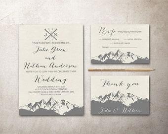 Mountain Wedding Invitation Printable, Winter Wedding Invitation, Christmas Wedding Invite, Printable Wedding Invitation Suite, Modern