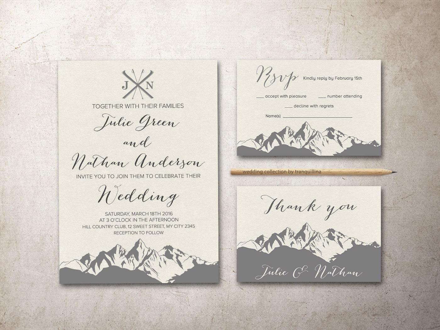 mountain wedding invitation printable winter wedding With mountain wedding invitations etsy