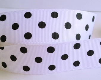 """White Grosgrain Ribbon with black printed Polka Dots 1"""" Wide  Scrapbooking HairBows Parties DIY Projects AZ12"""