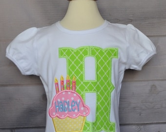 Personalized Birthday Cupcake with Initial Applique Shirt or Onesie Girl or Boy