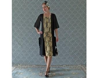 Black chiffon and gold lace Great Gatsby party dress, 1920s flapper dress, Charleston dress, 1920s fashion, art deco dress, 20er kleider