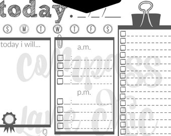 Black and white daily planner // printable // download // organizer