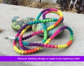 Apple Charger Cable Ready to Ship RTS, Valentines Da Gift for High School College Grad Wrapped Charger for iPhone iPad iPod, Rainbow Bridge