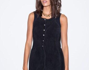 1970's Leather Vest// 1970's Suede Vest// Vintage Leather Vest