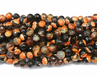 Round Orange Agate Beads, Round FIRE Agate Beads, 1 strand, 8mm  beads, Orange Agate Beads, Faceted Agate Beads, Wholesale Beads