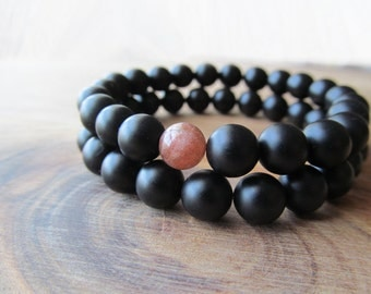 Sunstone and Matte Black Onyx Bracelet Set, Stacking Bracelets, Men's Bracelet, Beaded Bracelets, Mala Bracelet,  Yoga Jewelry, Wrist Mala