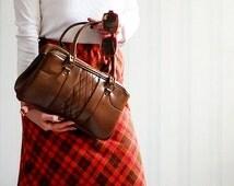 Soviet ladies purse. Vintage 1950's  toffee brown boho brass frame handbag accessory. Made in USSR.