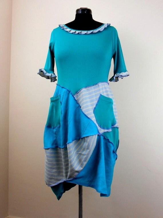 Upcycled Turquoise Blue Tshirt Dress Recycled Shirt Dress