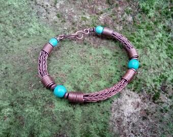 Viking knit bracelet Turquoise bracelet Copper bracelet Copper jewelry Wire wrapped bracelet Woven bracelet Bangle bracelet Viking jewelry