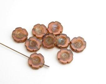 6 x 14mm Pink Hawaiian Flower Czech Glass Beads, Pink Flower Beads, Silver Flower Beads, Hawaiian Flower FLW0230