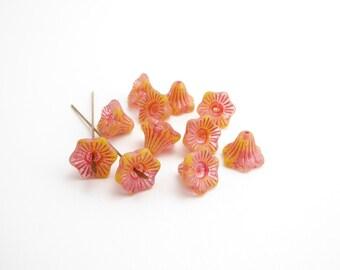 6 x 13x10mm Yellow Pink Bell Flower Czech Glass Beads, Pink Bell Flower Bead, Yellow Trumpet Flower Beads, Czech Glass Flower Beads FLW0284