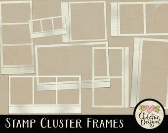 Frame ClipArt - Digital Stamp Frames Digital Scrapbook Elements - Stamp Cluster Digital Frames Embellishments, Scrapbooking Frames Clip art