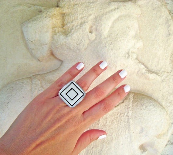 Geometric ring, black and white ring, white resin ring, white glass ring, hand painted abstract square steel ring, greek goddess ring