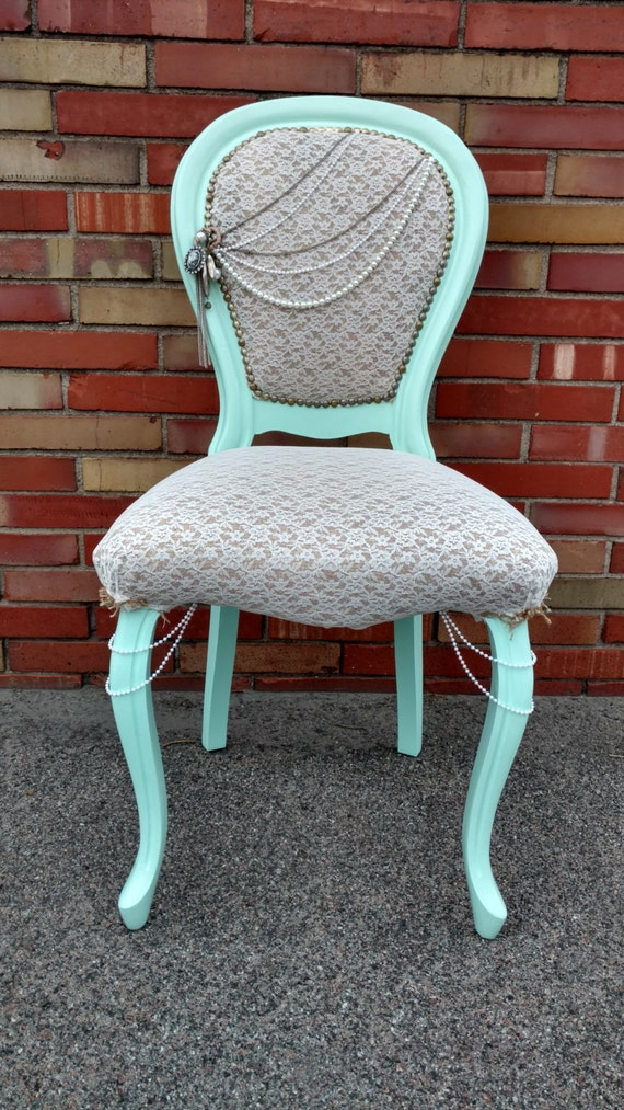 Lace and Mint Accent Chair