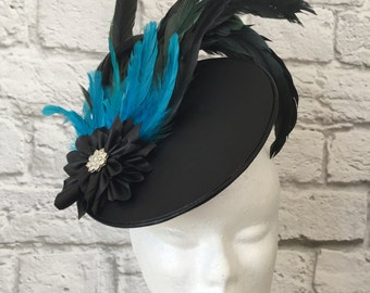Spring Racing Fascinator, Feather & Faux Leather Fascinator