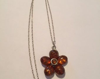 """Amber Sterling Necklace 20"""" Baltic Flower 925 Silver Poland Polish Pendant Vintage Jewelry Holiday Birthday Anniversary Mother's Gift"""