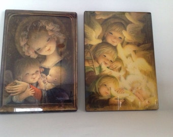 choice of Ferrandiz art prints lacquered on wood children and doves or Mother with infant and child religious Christmas Christian symbolism