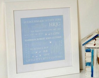 Framed personalised new baby print
