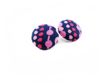 Fabric button earrings, Pink and navy print fabric, Covered button earrings, textile earrings, Fabric button jewelry, Handmade jewellery