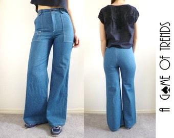 VTG 70s Wide Leg Jeans High Waist Bell Bottoms Size XS / S