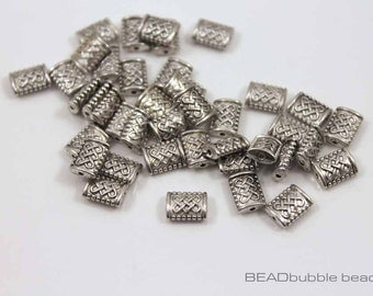 Celtic Knot 7mm Small Rectangular Beads Spacer Metal Silver Tone, Pack of 40 Beads for Jewelry Making(BCK011)