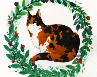 Calico Cat and Wreath, 22 x 27 cm, Watercolour and Gouache Painting