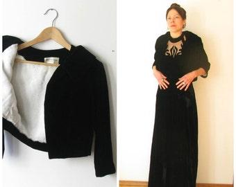 Vintage 60s Black Velvet Cropped Jacket// 1960s Black Velvet Dress Jacket Small